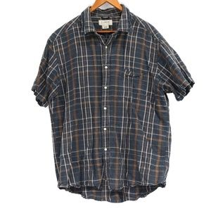 J. Crew Men's Plaid Linen Blend Button Up Shirt